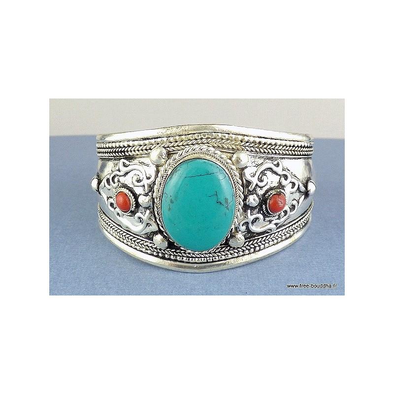 Gros bracelet tibétain en Turquoise ref 155