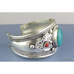 Gros bracelet tibétain en Turquoise Bijoux tibetains bouddhistes  ref 155