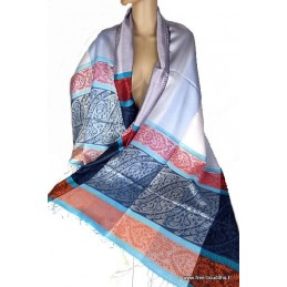 Pashmina en soie Bleu Cuivre
