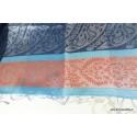 Pashmina en soie Bleu Cuivre APS129