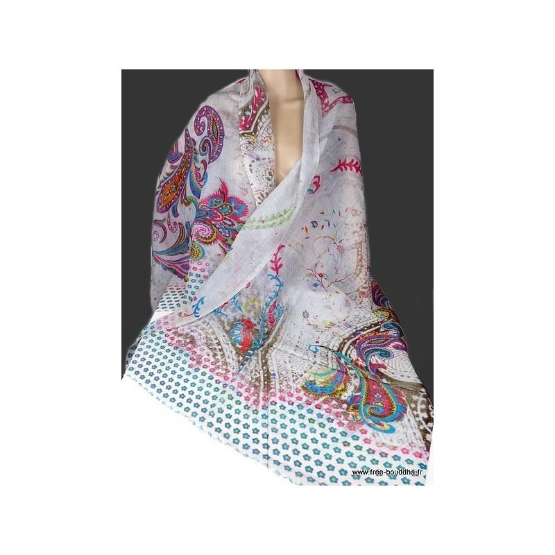 Foulard en laine fine et soie Gris clair - Eveil Oriental b634d3aea14