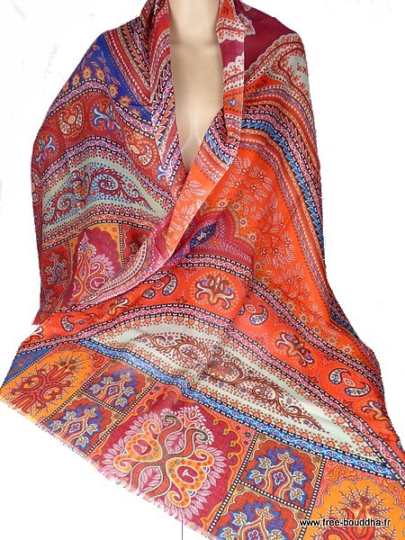 Foulard en laine fine et soie Rouge orange - Eveil Oriental d4949d1e4ee
