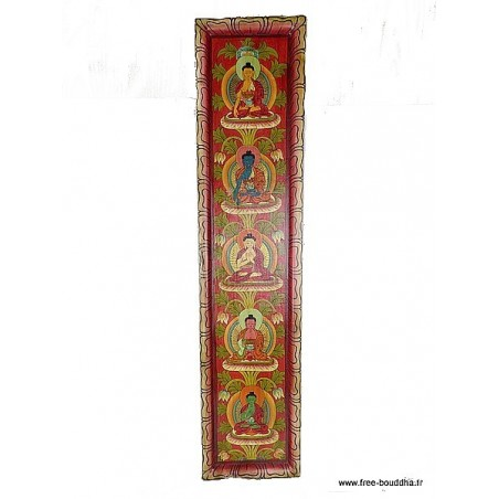 Tableau vertical 5 Bouddhas