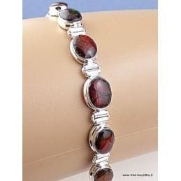 Bracelet serti de 9 Ammolites rouges BZ80.3