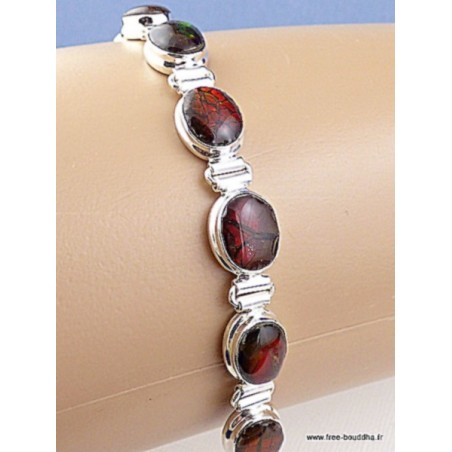 Bracelet serti de 9 Ammolites rouges