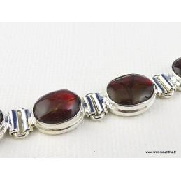 Bracelet serti de 9 Ammolites rouges Bracelets pierres naturelles BZ80.3