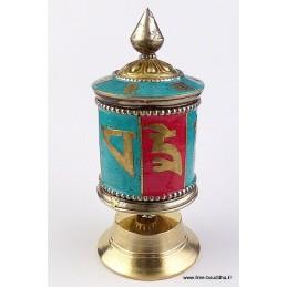 Moulin à prières tibétain 11,5 cm pierres fantaisie PMAP9