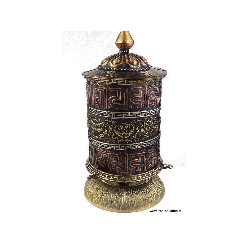 Moulin à prières tibétain style antique 20 cm PMAP11