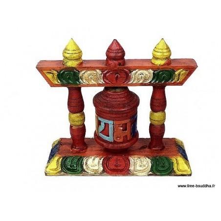Petit moulin à prières en bois sculpté