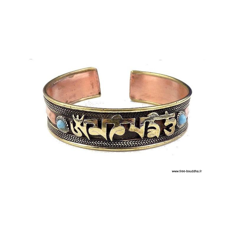 Bracelet tibétain cuivre et laiton Mantra Bijoux tibetains bouddhistes  BHB47
