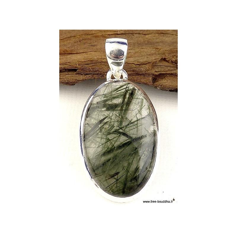 Pendentif Quartz Rutile vert oval Pendentifs pierres naturelles CZ79.1