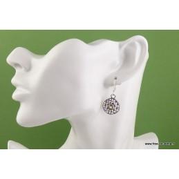 Boucles d'oreilles Citrine motif grillage Boucles d'oreilles en pierres AJE5.7