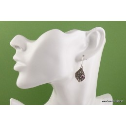 Boucles d'oreilles Feuille en Grenat Boucles d'oreilles en pierres AJE5.10