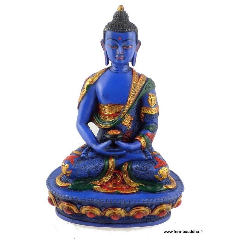 Bouddha de Médecine statuette peinte à la main BLUEB1