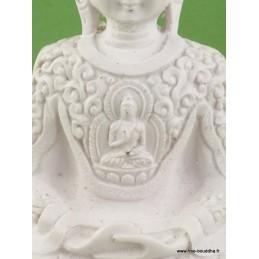Statuette Bouddha blanc en résine peinte WHITEB