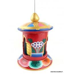 Moulin à prières tibétain en bois peint NMAP19