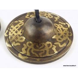 Tingshas tibétaines en Bronze Signes auspicieux TTD2