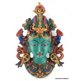 Masque Tara Verte 20 cm Artisanat tibétain bouddhiste MASKTV3