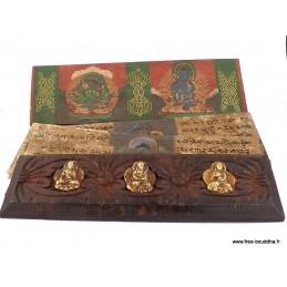 Livre de prières bouddhiste bois et laiton ref 3794.3