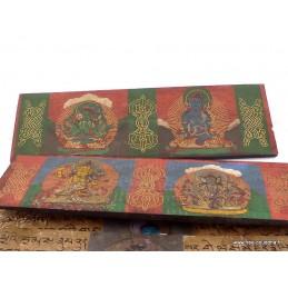 Livre de prières bouddhiste bois et laiton Objets rituels bouddhistes ref 3794.3