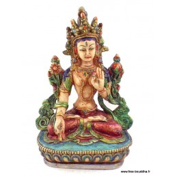 Tara blanche statuette style antique Artisanat tibétain bouddhiste ref STV6