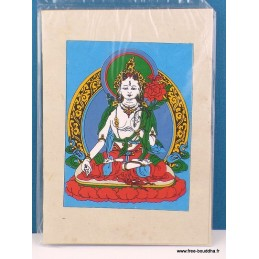 Carte postale tibétaine Tara Blanche CPT11