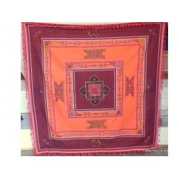 Nappe tenture tibétaine brodée du Dorje bordeau orange NT4