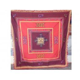 Nappe tenture tibétaine Mandala Dorjé bordeau rouge NT5