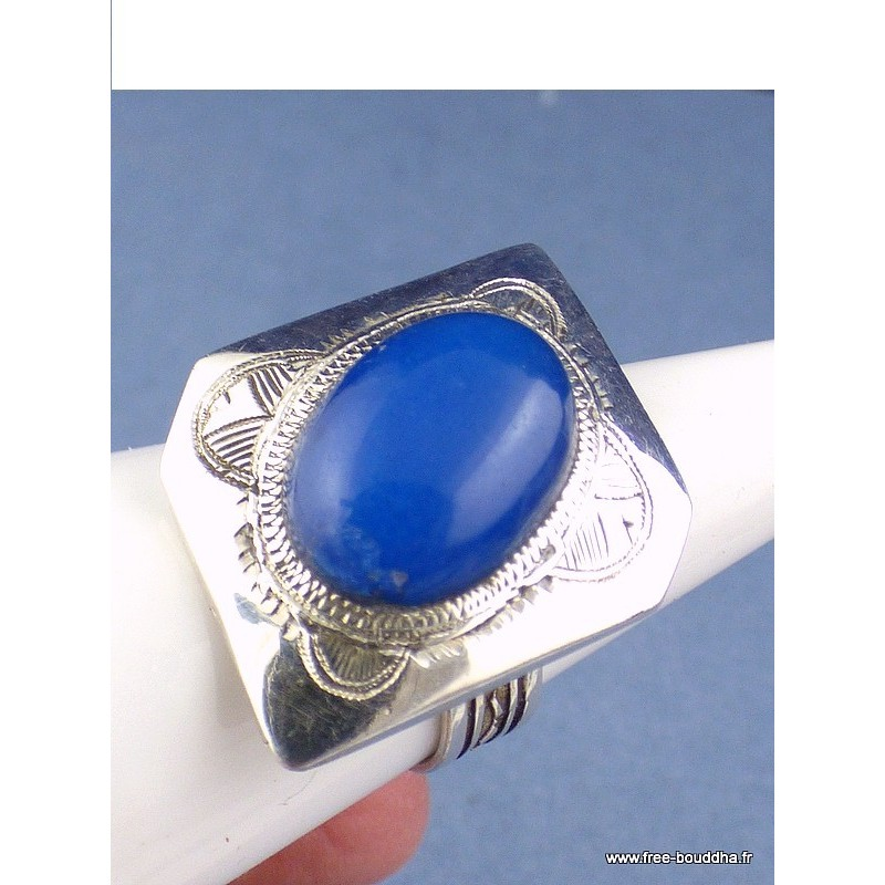 Bague argent Touareg en Calcédoine bleue T 60 Bijoux ethniques Touareg TOUA47