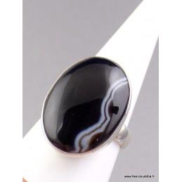 Bague ovale Agate noire à bandes T 61 Bagues pierres naturelles UV3.4