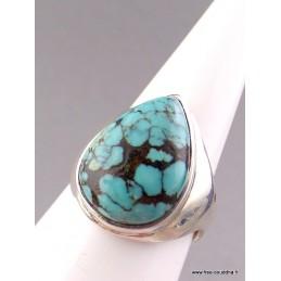 Bague argent Turquoise du Tibet T 54/55 Bagues pierres naturelles AV52.14