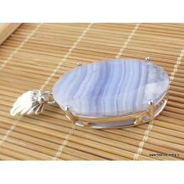 Pendentif Onyx bleu à bandes forme ovale Pendentifs pierres naturelles VK9.2
