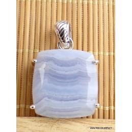 Pendentif Onyx bleu à bandes forme carrée Pendentifs pierres naturelles VK9.3