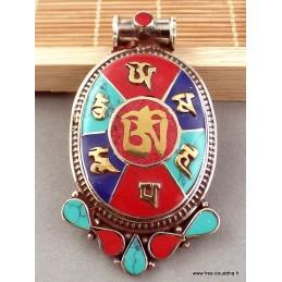 Pendentif tibétain Om et mantra de Chenrezi Bijoux tibetains bouddhistes  FC2