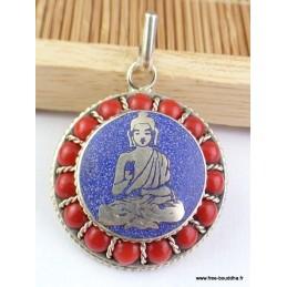 Pendentif Bouddha en méditation Bijoux tibetains bouddhistes  FC7