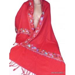 Châle rouge en laine brodé perles LJ26