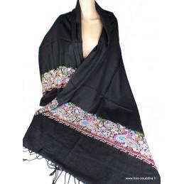 Pashmina noir brodé fils et perles LJ29