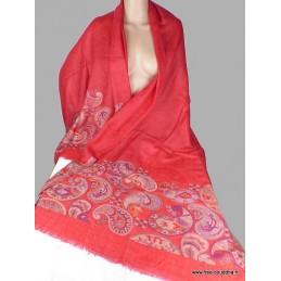 Châle rouge laine fine motifs cachemire CHALF22