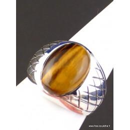 Chevalière pour Homme en Oeil de Tigre Bagues pierres naturelles KB20/wl33
