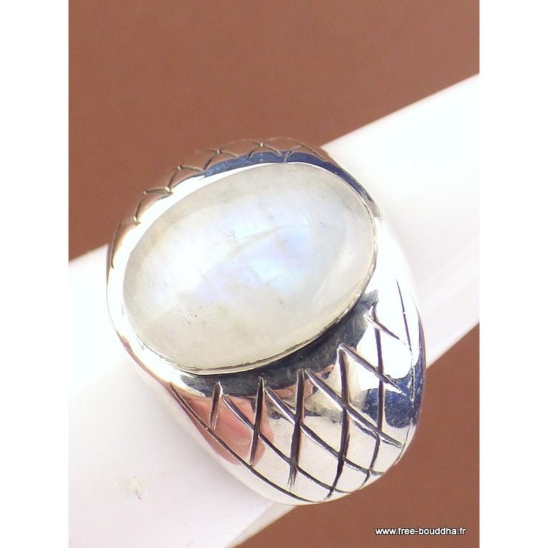 Bague chevalière pour Homme en Pierre de lune Bagues pierres naturelles KB19