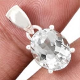 Pendentif Topaze blanche naturelle facettée serti griffes Pendentifs pierres naturelles WL45.1