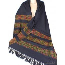 Grand châle népalais en laine coton noir brodé Pashminas Etoles Echarpes CEO3