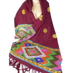 Châle de lama bouddhiste en soie et broderies CHAB1