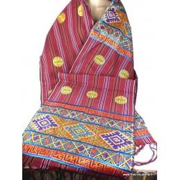 Châle de lama bouddhiste en coton et soie CHAB2