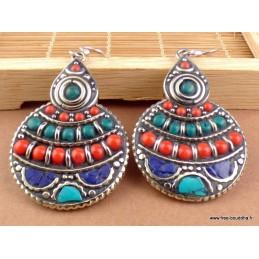 Boucles d'oreilles tibétaines rondes en Pierre Naturelle Boucles d'oreilles tibétaines LBOT11