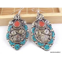 Grandes boucles d'oreilles tibétaine en Turquoise Boucles d'oreilles tibétaines LBOT14