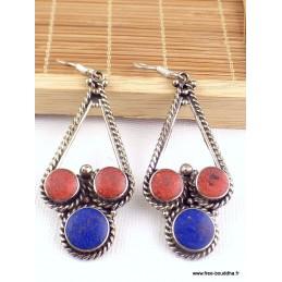 Boucles d'oreilles tibétaines métal et résine Boucles d'oreilles tibétaines LBOT17