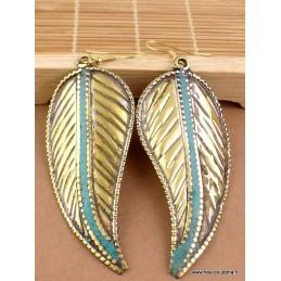 Boucles d'oreilles ethniques forme feuille Boucles d'oreilles tibétaines LBOT22