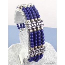 Bracelet tibétain en perles de Lapis Lazuli Bijoux tibetains bouddhistes  BRETH12