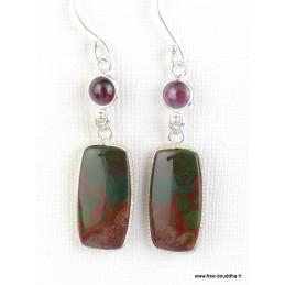 Boucles d'oreilles Jaspe sanguin et grenat Boucles d'oreilles en pierres WL52.3
